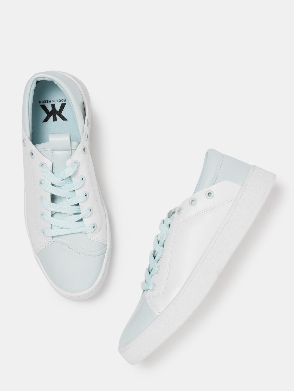 Kook N Keech Women White & Blue Colourblocked Sneakers Price in India