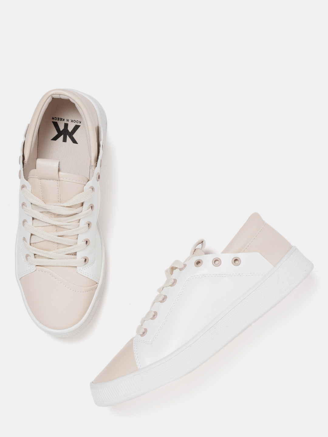 Kook N Keech Women White & Beige Colourblocked Sneakers Price in India
