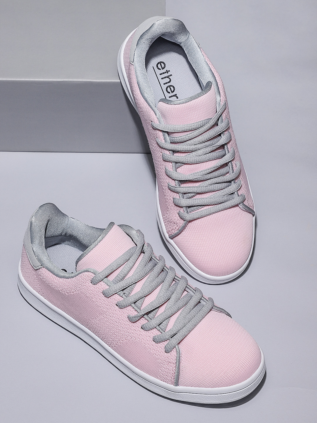 ether Women Pink &Grey Sneakers Price in India