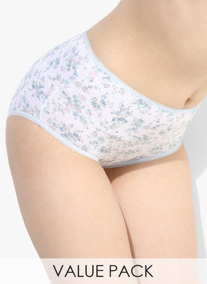 Pack Of 5 Multicoloured Printed Basic Panty Price in India