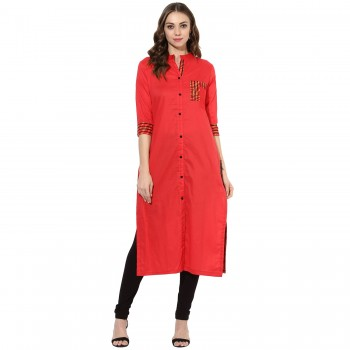 Cambric Cotton Red Plain Stitched Indo Western Kurti - 432RE Price in India