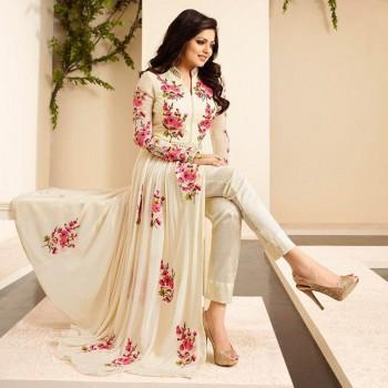 The Woman Taxfeb Drashti Dhami Georgette Cream Embroidered Semi Stitched Pant Style Suit - TWT03 Price in India