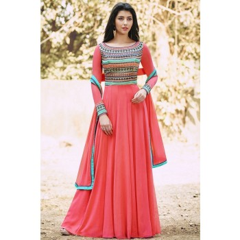 Georgette Peach Embroidered Semi Stitched Long Anarkali Suit - V792 Price in India