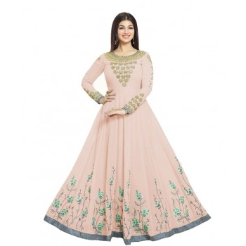 The Woman Taxfeb Ayesha Takia Georgette Peach Embroidered Semi Stitched Long Anarkali Suit - TWT21 Price in India