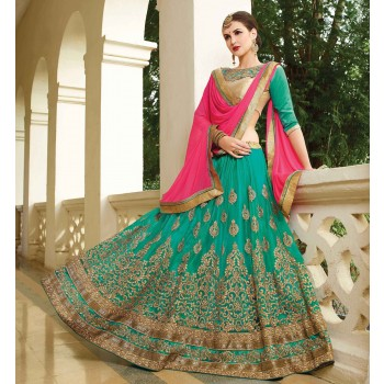 Womantra Net Green Embroidered Semi Stitched Lehenga - MN50 Price in India
