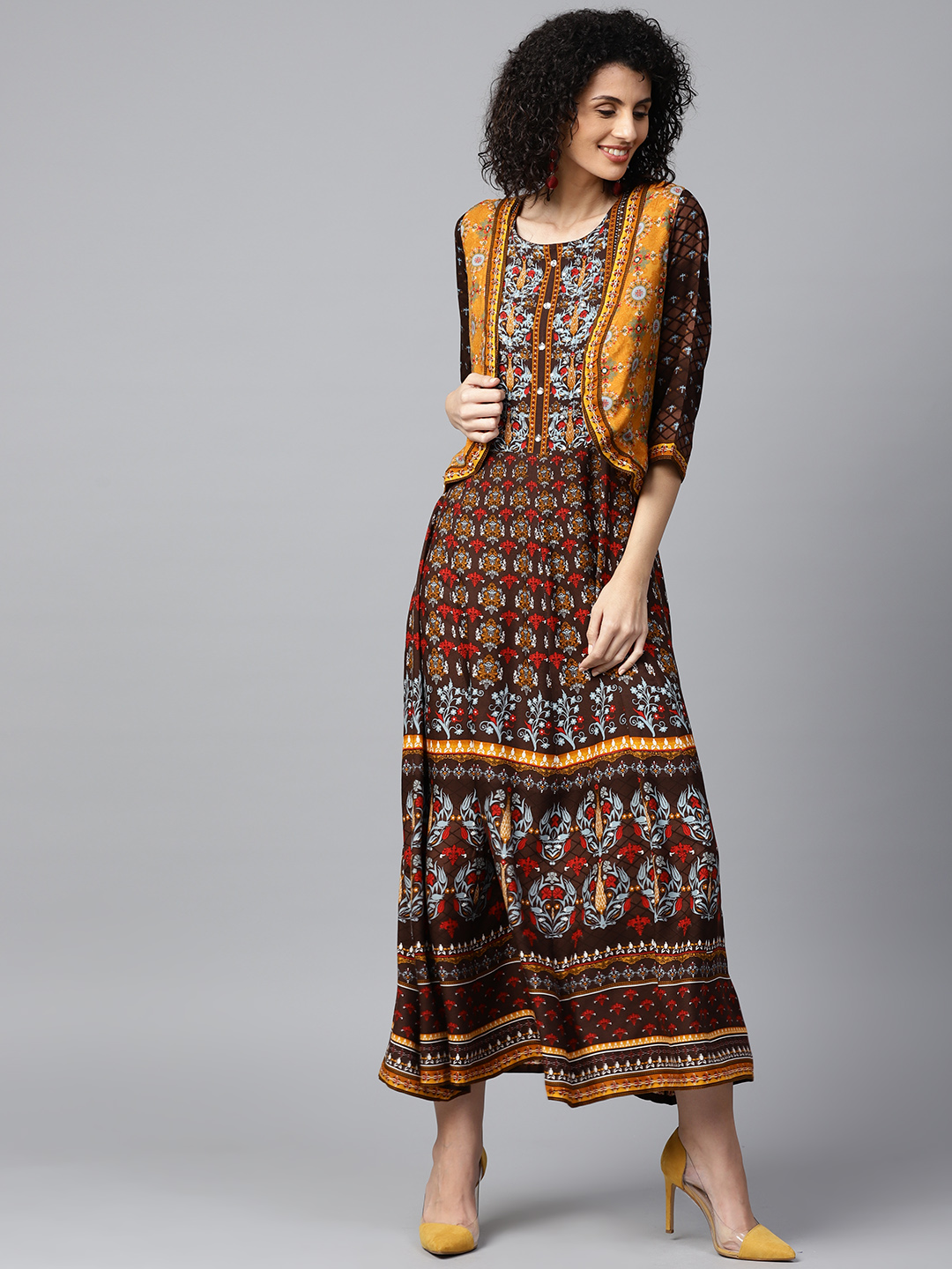 d7f79a1c3e97 Buy Shree Women Coffee Brown   Mustard Yellow Printed Maxi ...