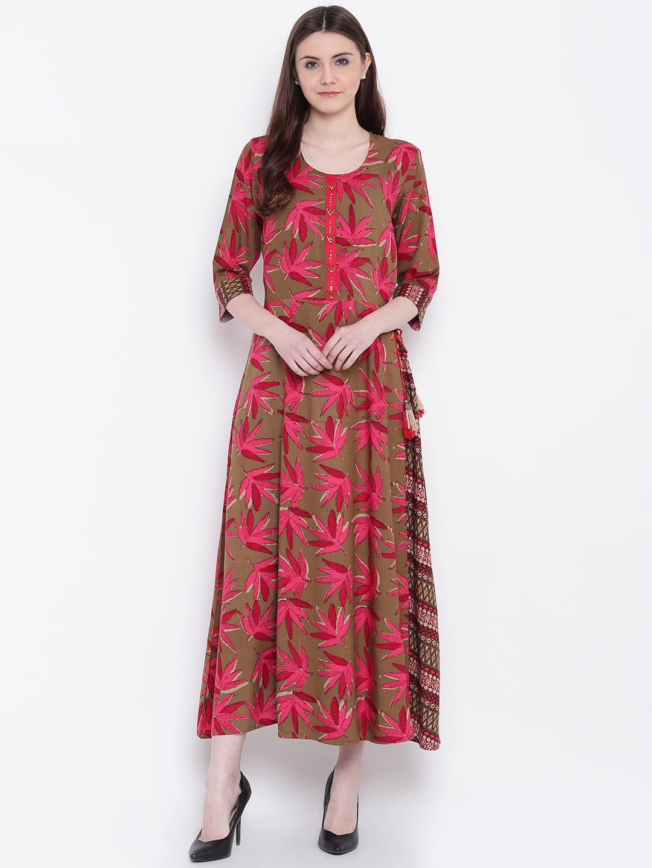 bbf36b9d6f Shree Women Olive Brown   Pink Printed Layered Maxi Dress