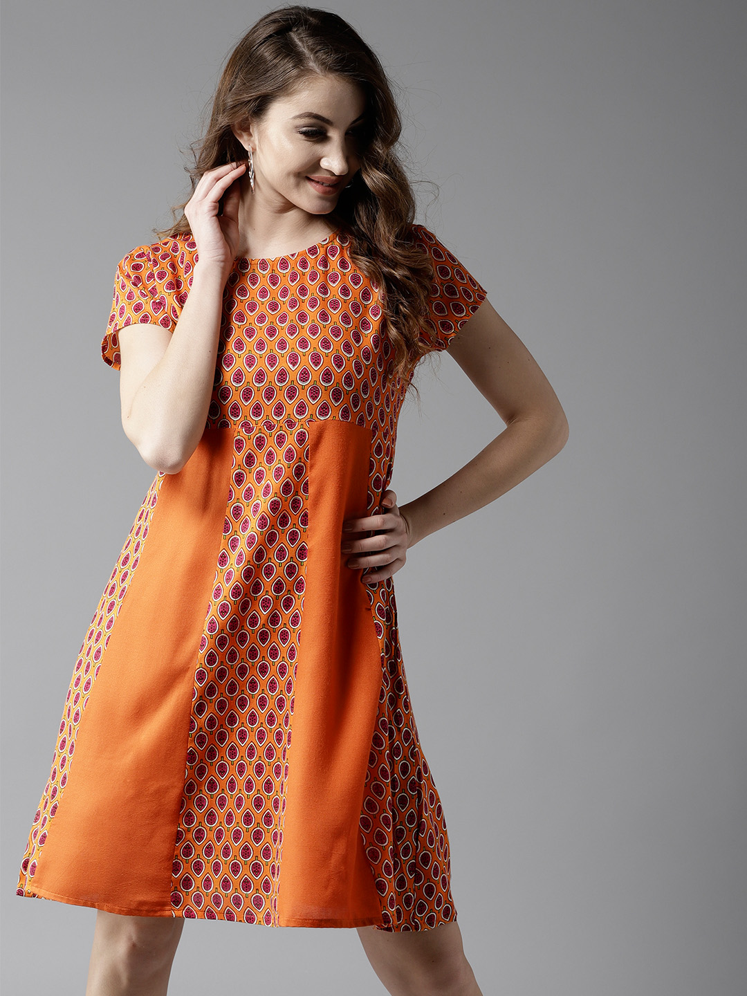 HERE&NOW Women Orange Printed A-Line Dress Price in India