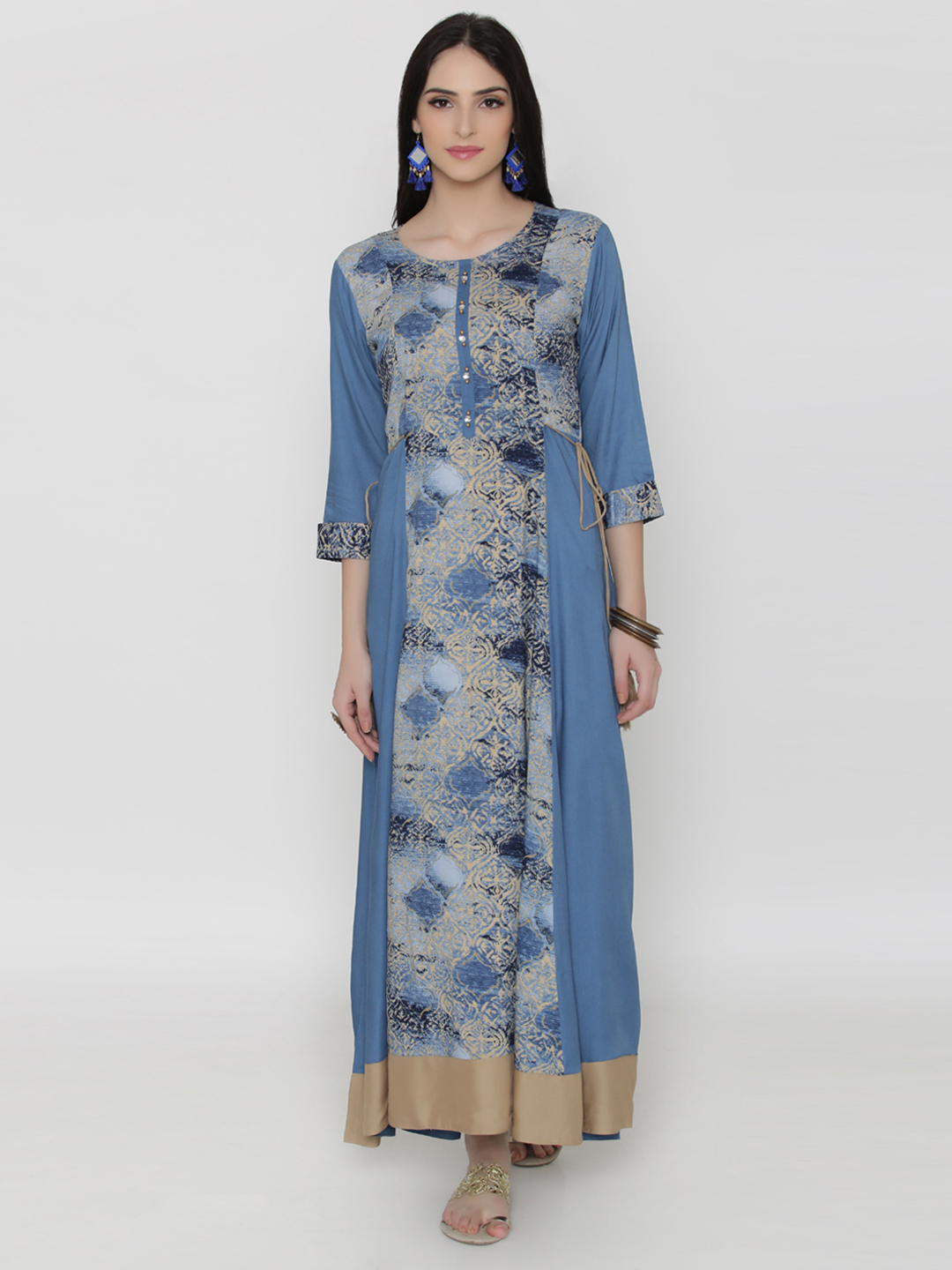 Shree Women Blue & Beige Printed Maxi Dress Price in India