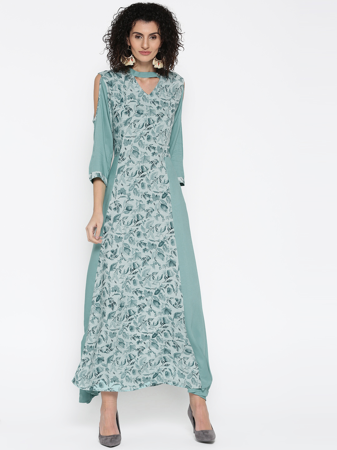 Shree Women Blue Floral Print Maxi Dress Price in India