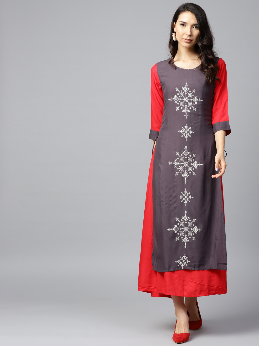 Shree Women Grey & Red Printed A-Line Layered Dress Price in India