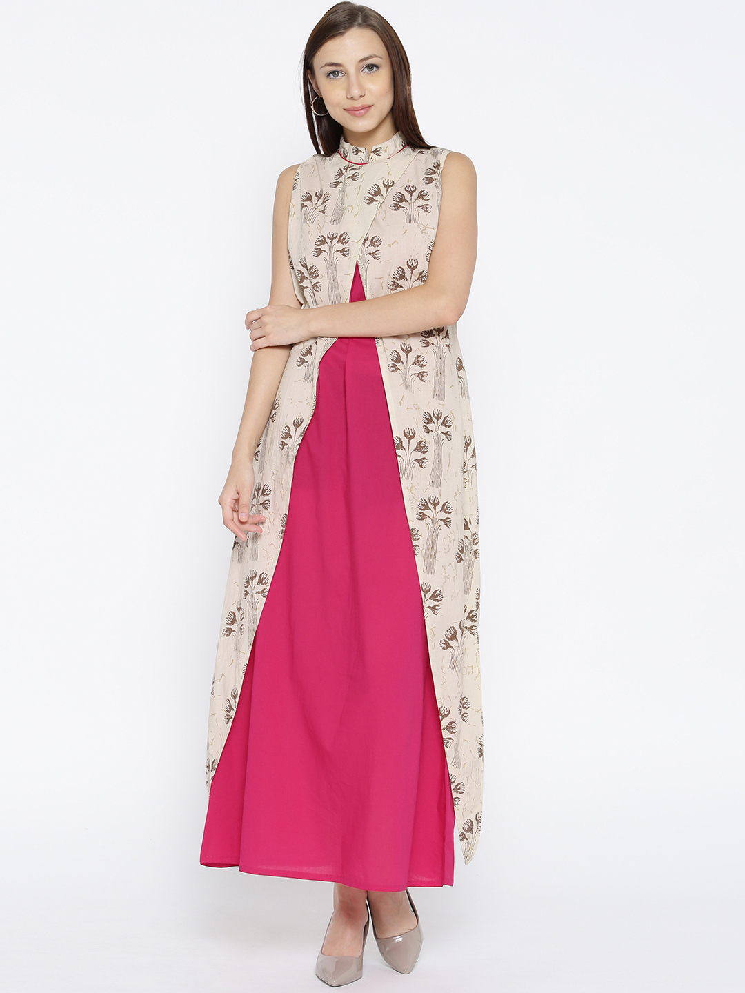 Jaipur Kurti Women Off-White Printed Layered Maxi Dress Price in India
