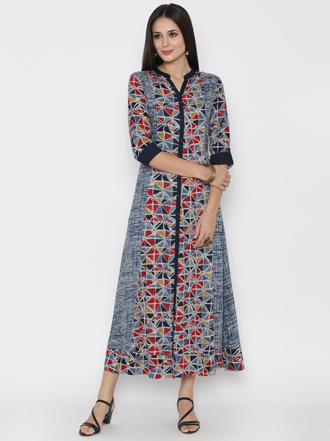 Shree Women Blue Rayon Printed Maxi Dress Price in India