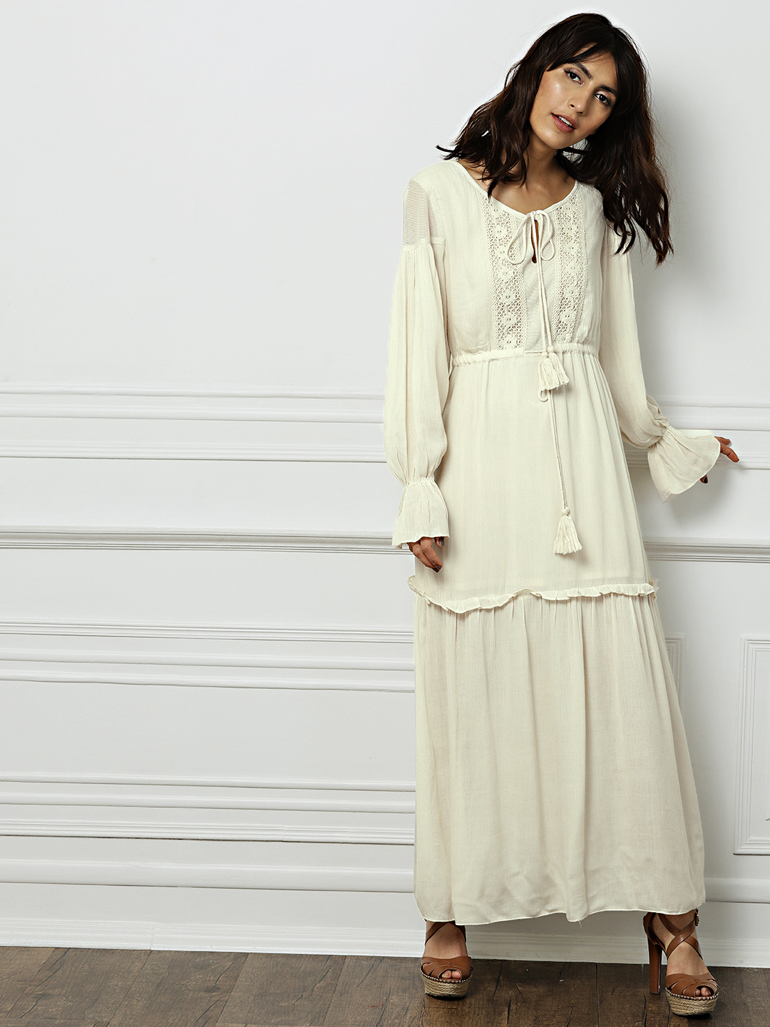 all about you Women Beige Solid Maxi Dress Price in India