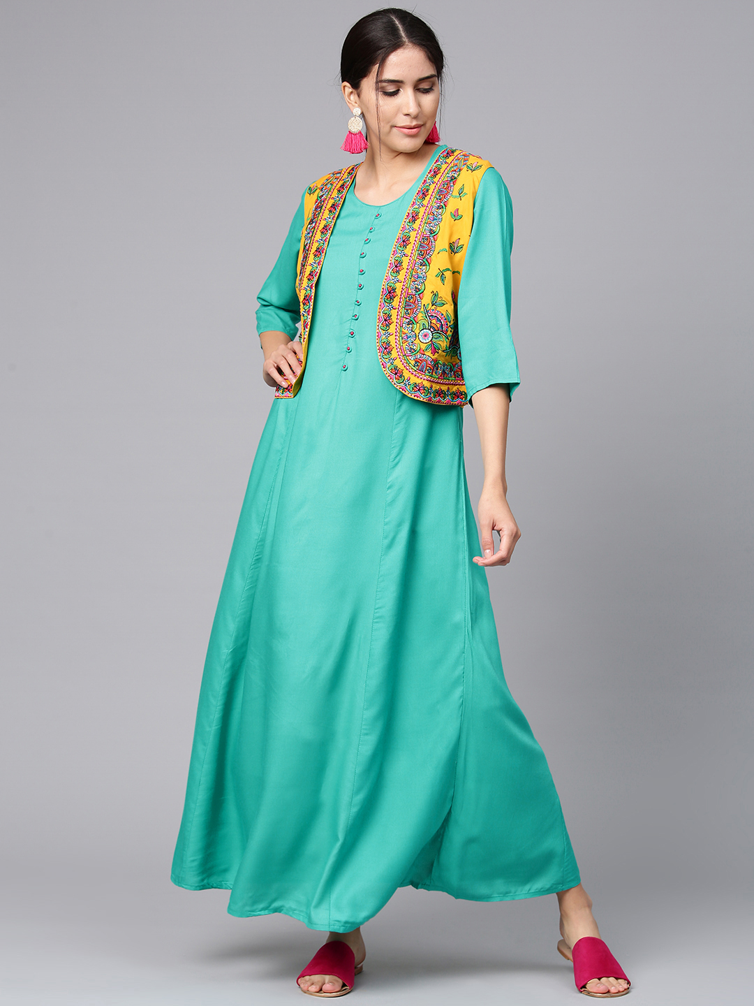 Shree Women Green & Mustard Yellow Solid Maxi Dress with Ethnic Jacket Price in India