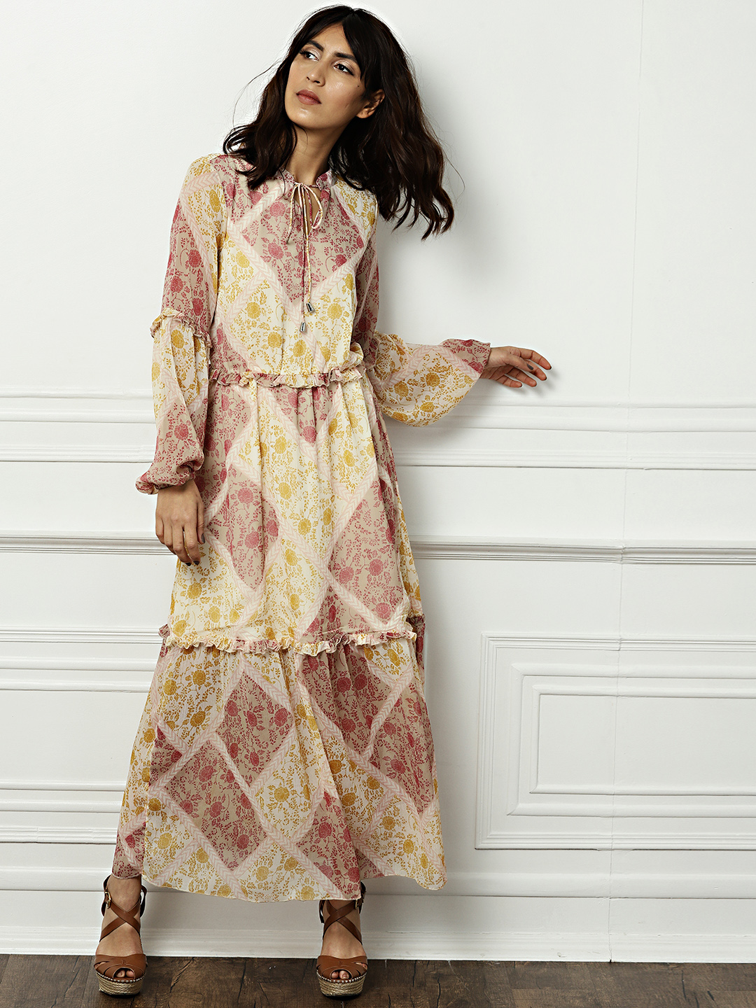 all about you from Deepika Padukone Women Beige Printed A-Line Dress Price in India