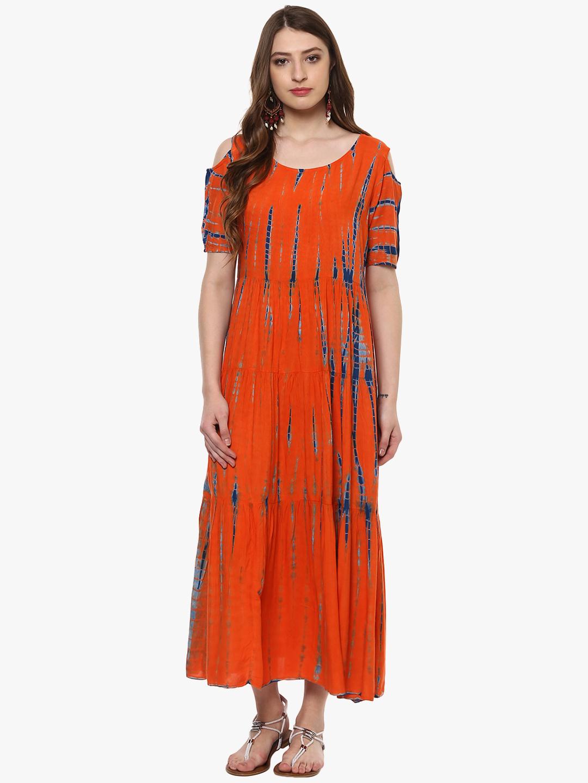 Sringam Women Orange Printed Maxi Dress Price in India