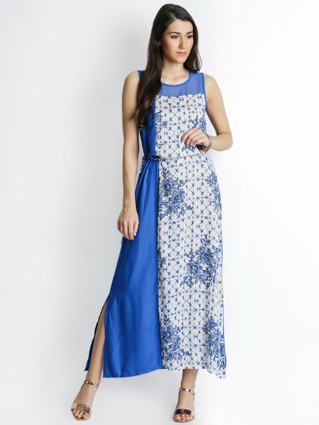 AKKRITI BY PANTALOONS Women Blue Printed A-Line Maxi Dress Price in India