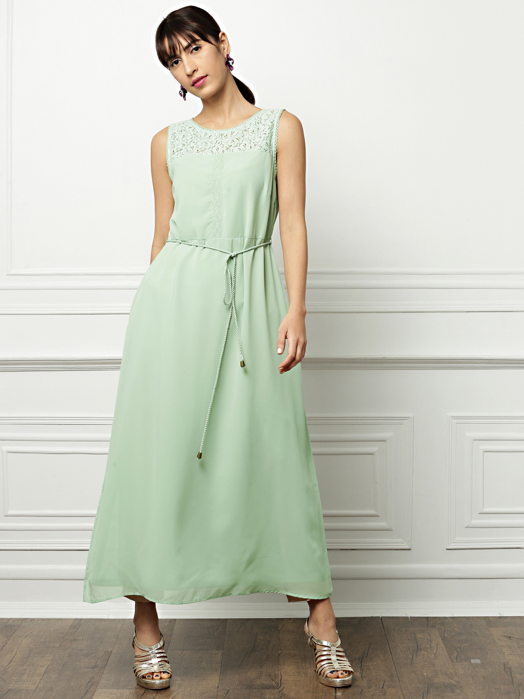 all about you from Deepika Padukone Women Sea Green Solid Maxi Dress Price in India