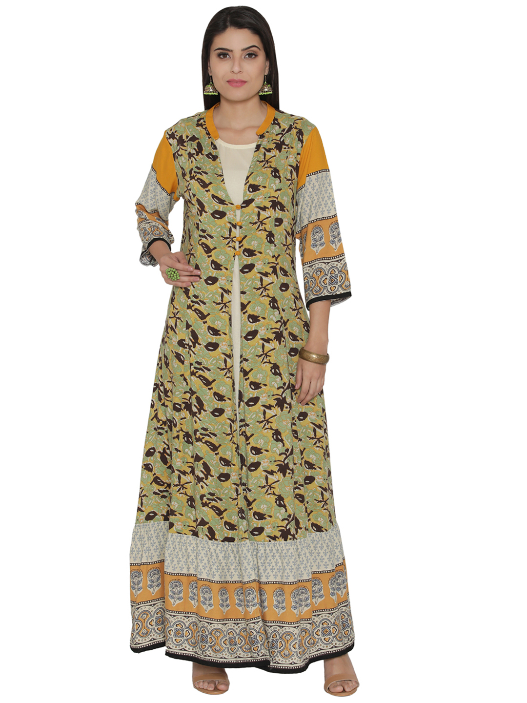 Shree Women Olive Green & Mustard Yellow Floral Print Maxi Dress Price in India