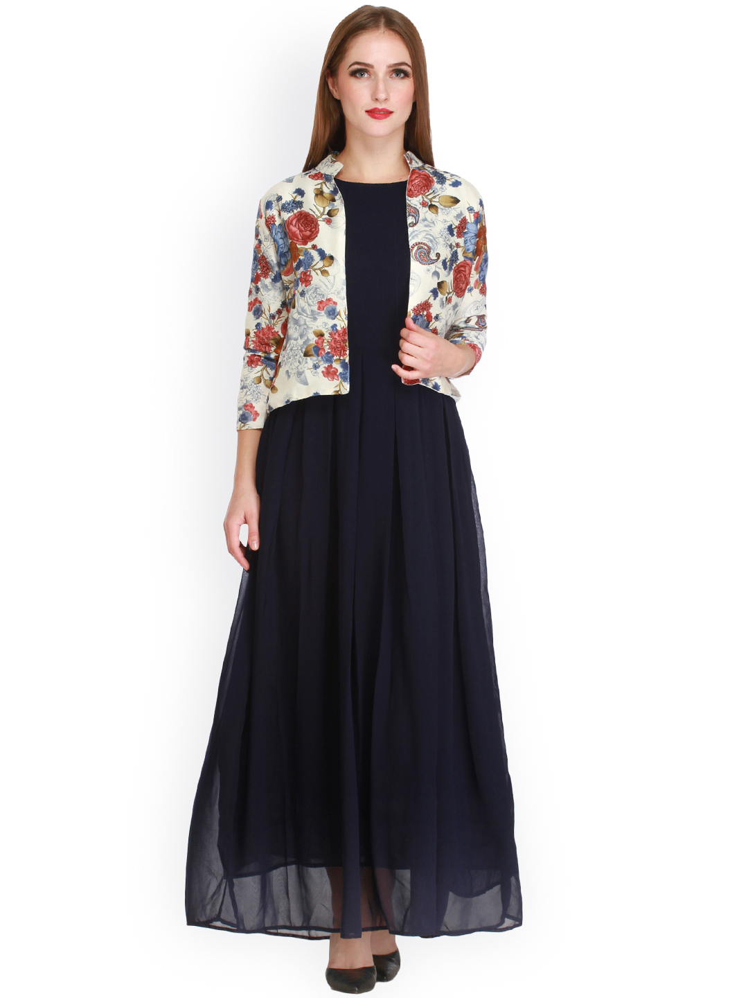 Cottinfab Women Navy Blue Printed Maxi Dress Price in India