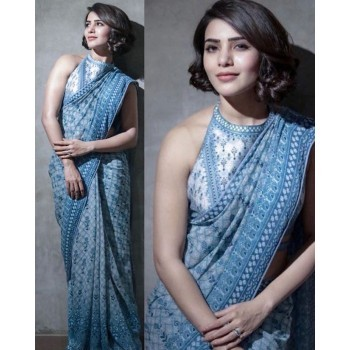 Purple Opus Samantha Viscose Blue Printed Saree - BTKP549 Price in India