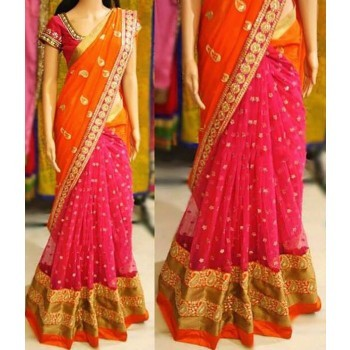 Fabrica Shoppers Georgette Orange & Pink Embroidered Saree - KT3189 Price in India