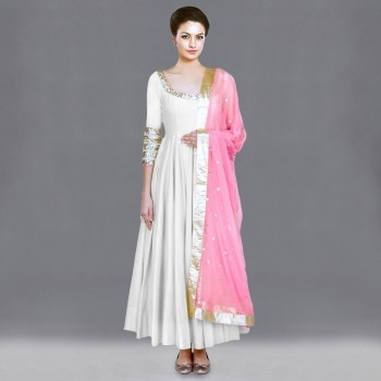 Poly Silk White Plain Semi Stitched Gown - GV581 Price in India