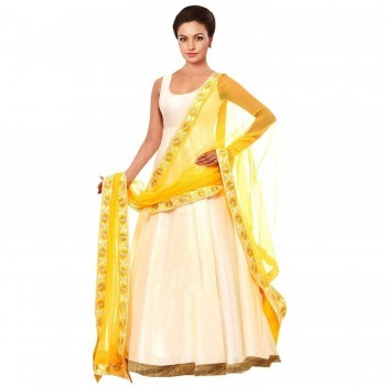 Poly Silk White Plain Semi Stitched Gown - GV501 Price in India
