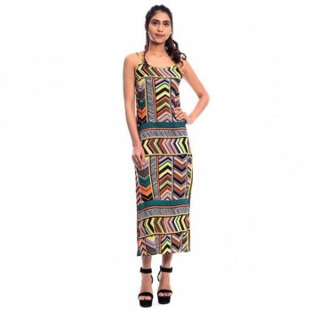 Urban Religion Rayon Multicolour Printed Long Dress - AN5069 Price in India