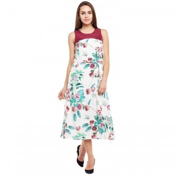 Polyester Multicolour Floral Print Long Dress - 30WT170 Price in India