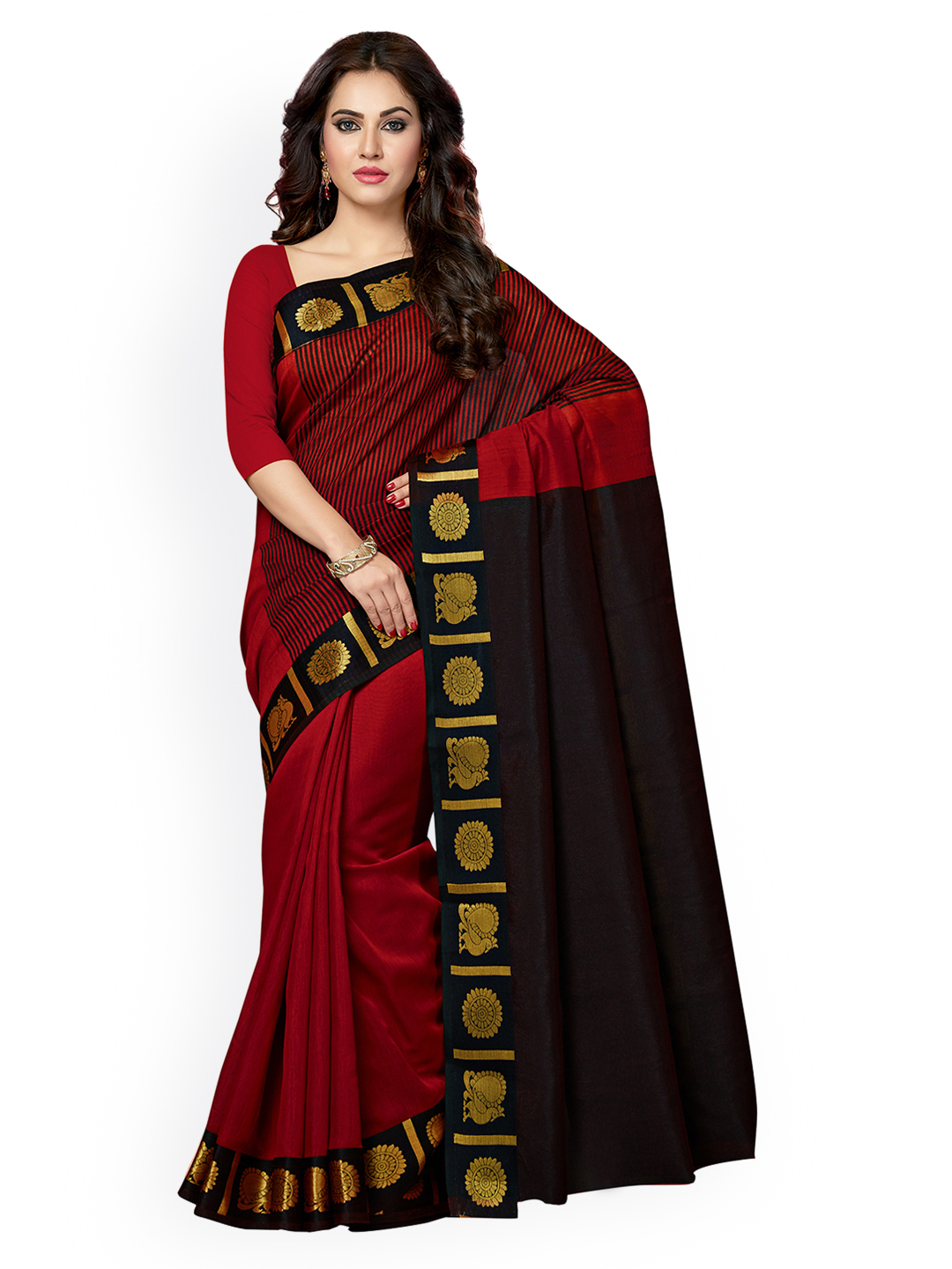 Ishin Red & Black Silk Cotton Woven Design Chanderi Saree Price in India