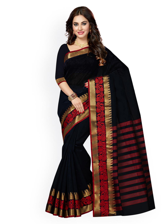 Ishin Black Silk Cotton Solid Chanderi Saree Price in India