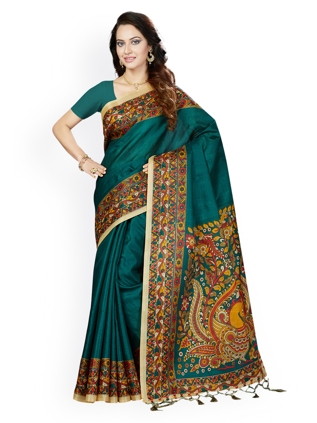 Ishin Green Art Silk Printed Bhagalpuri Saree Price in India