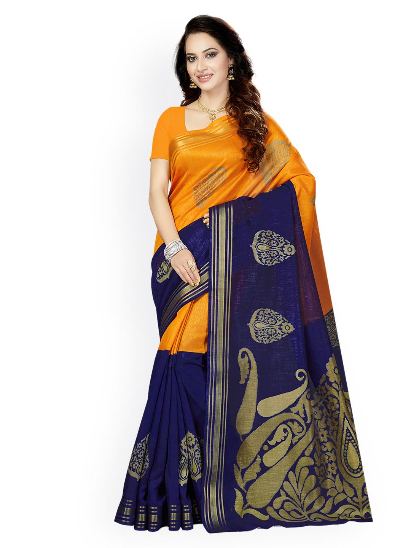 Ishin Orange & Blue Art Silk Woven Design Bhagalpuri Saree Price in India