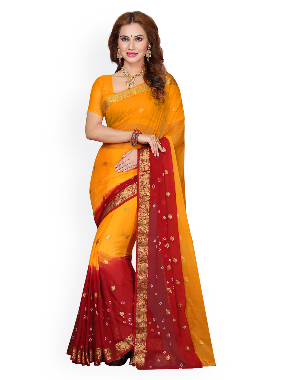 Ishin Yellow & Red Poly Chiffon Woven Design Saree Price in India