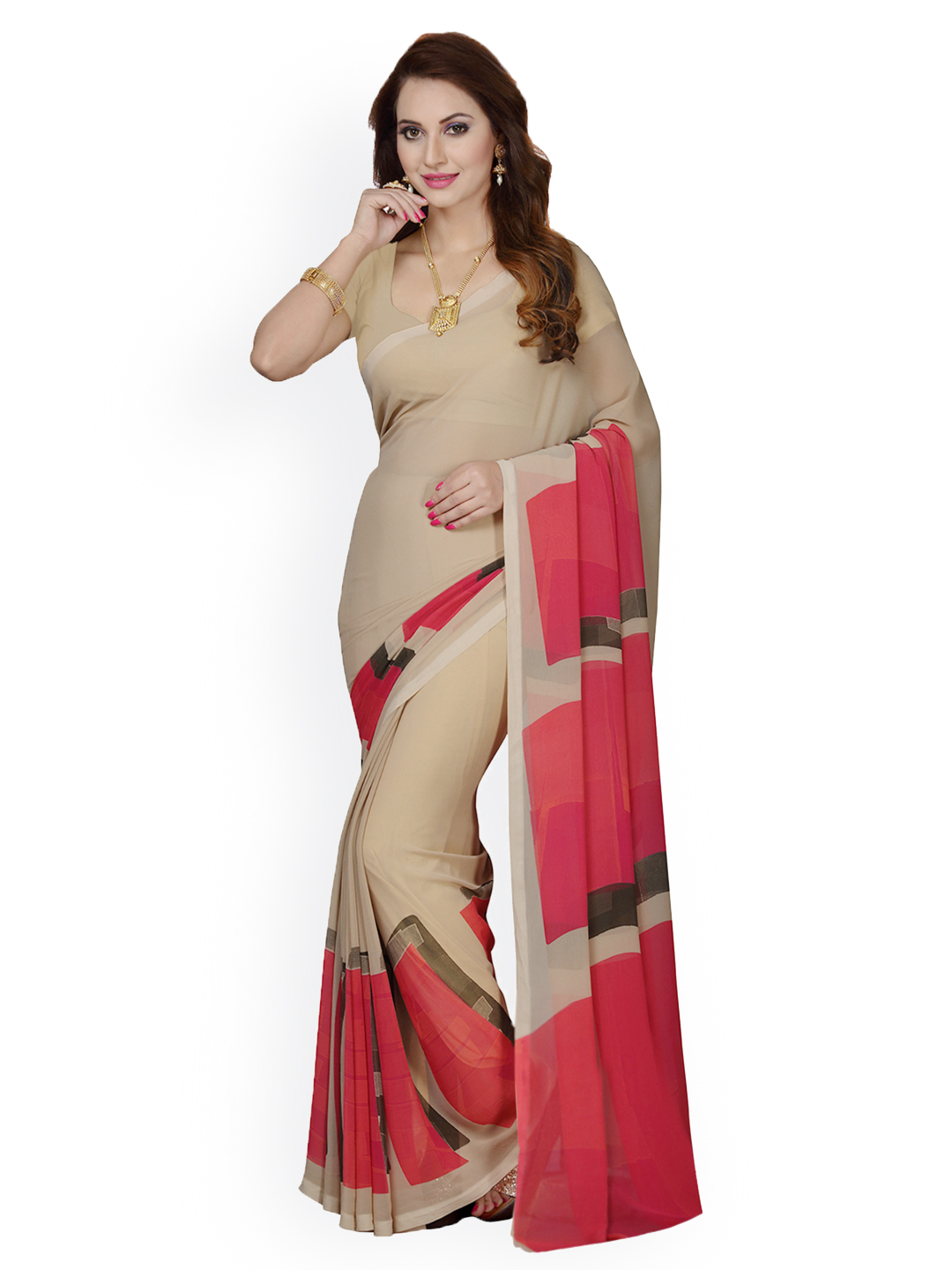 Ishin Beige Printed Poly Georgette Saree Price in India
