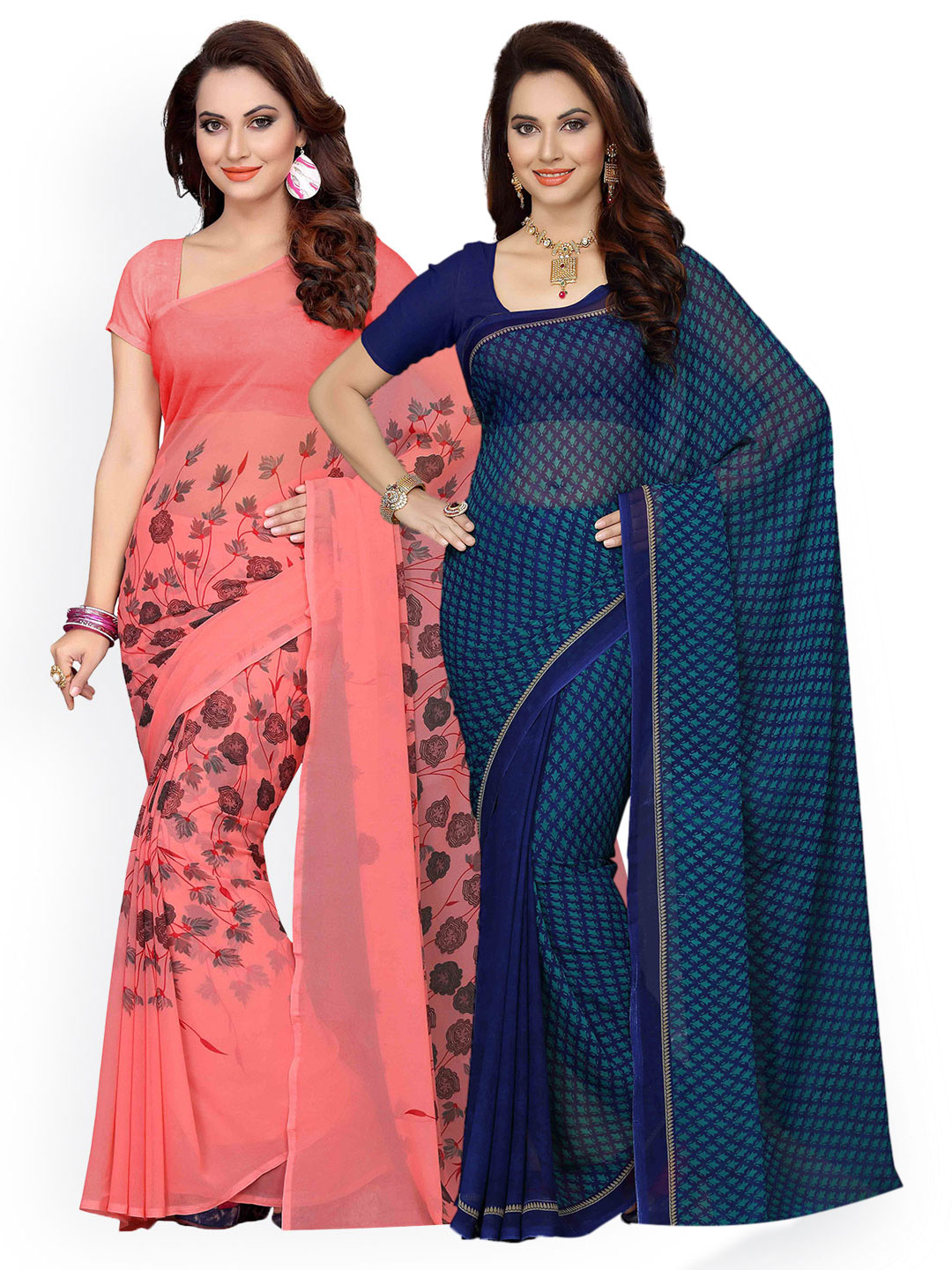 Ishin Combo of 2 Faux Georgette Peach & Navy Blue Printed Women's Saree Price in India