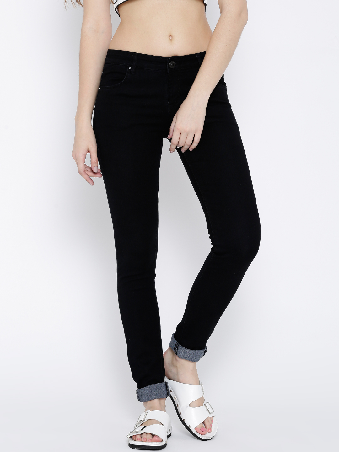 Devis Black Slim Fit Stretchable Jeans Price in India