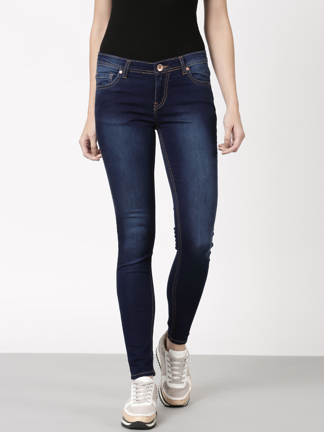 ether Women Blue Skinny Fit Mid-Rise Clean Look Jeans Price in India
