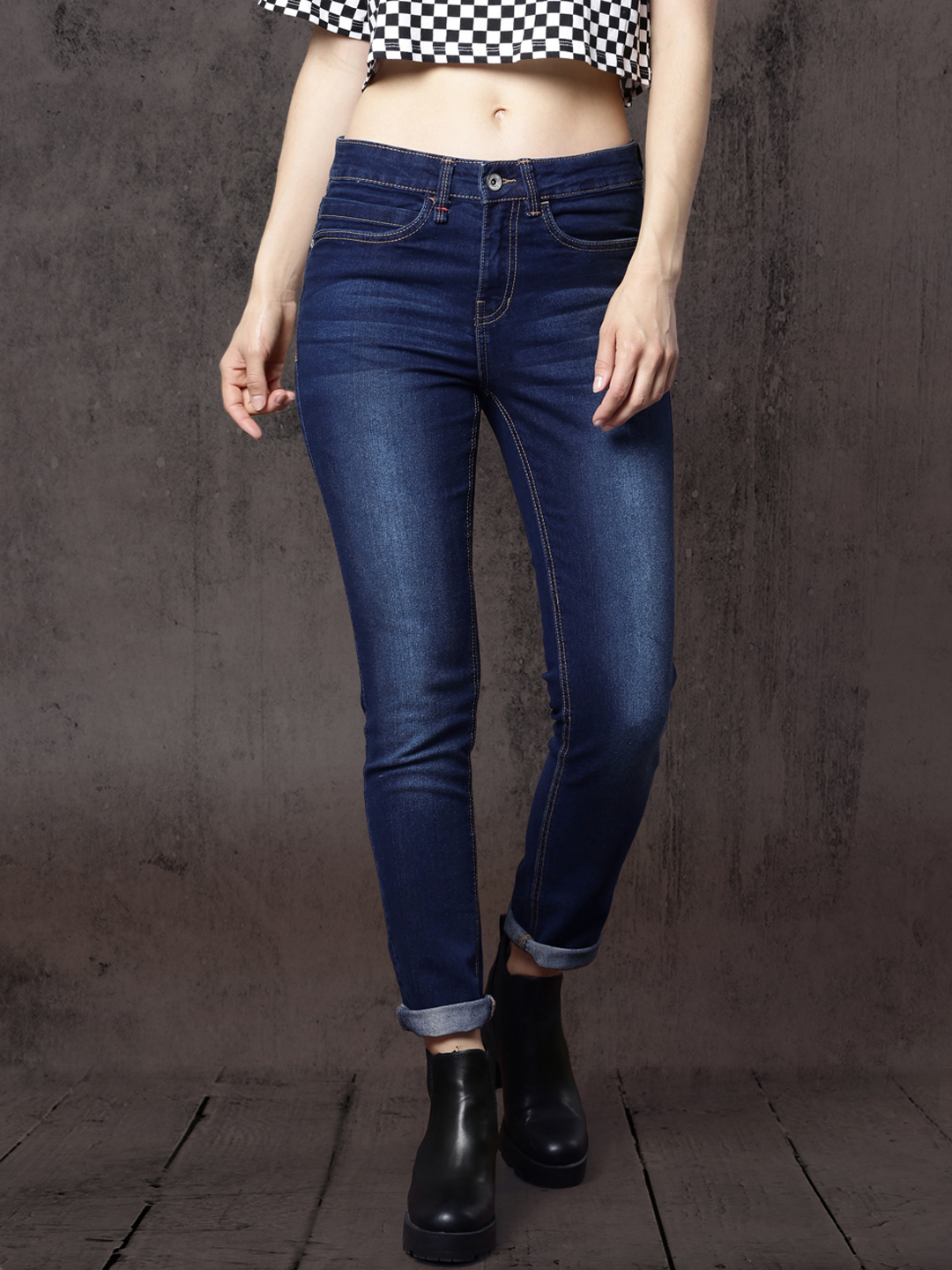 Roadster Women Blue Skinny Fit Mid-Rise Clean Look Stretchable Jeans Price in India
