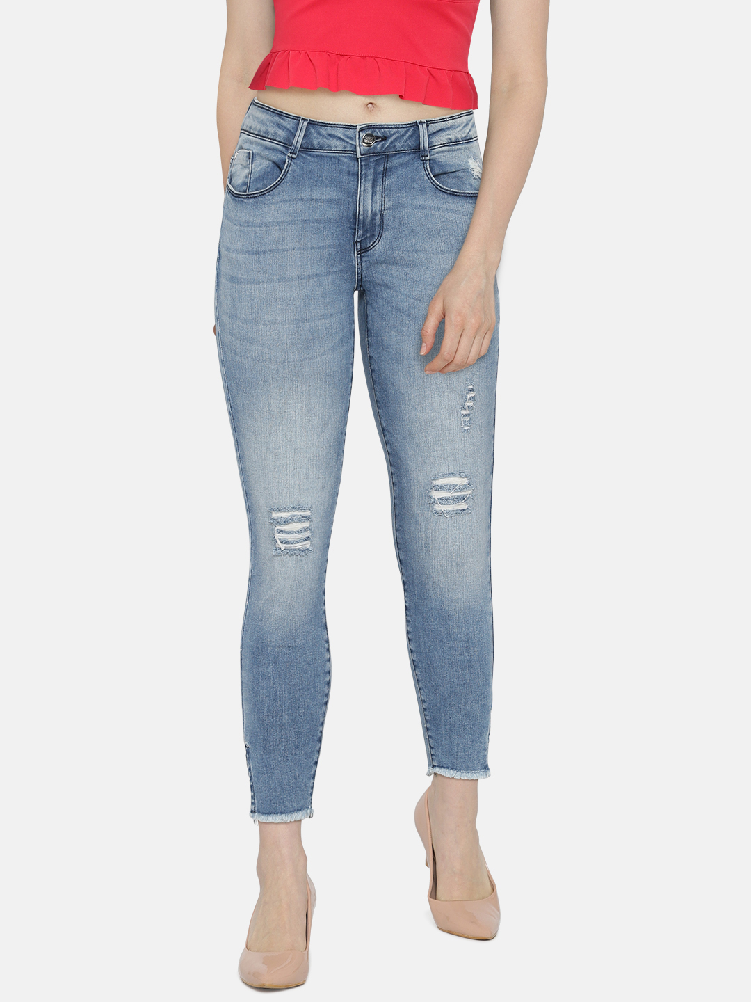 ONLY Women Blue Skinny Fit Mid-Rise Mildly Distressed Stretchable Jeans Price in India