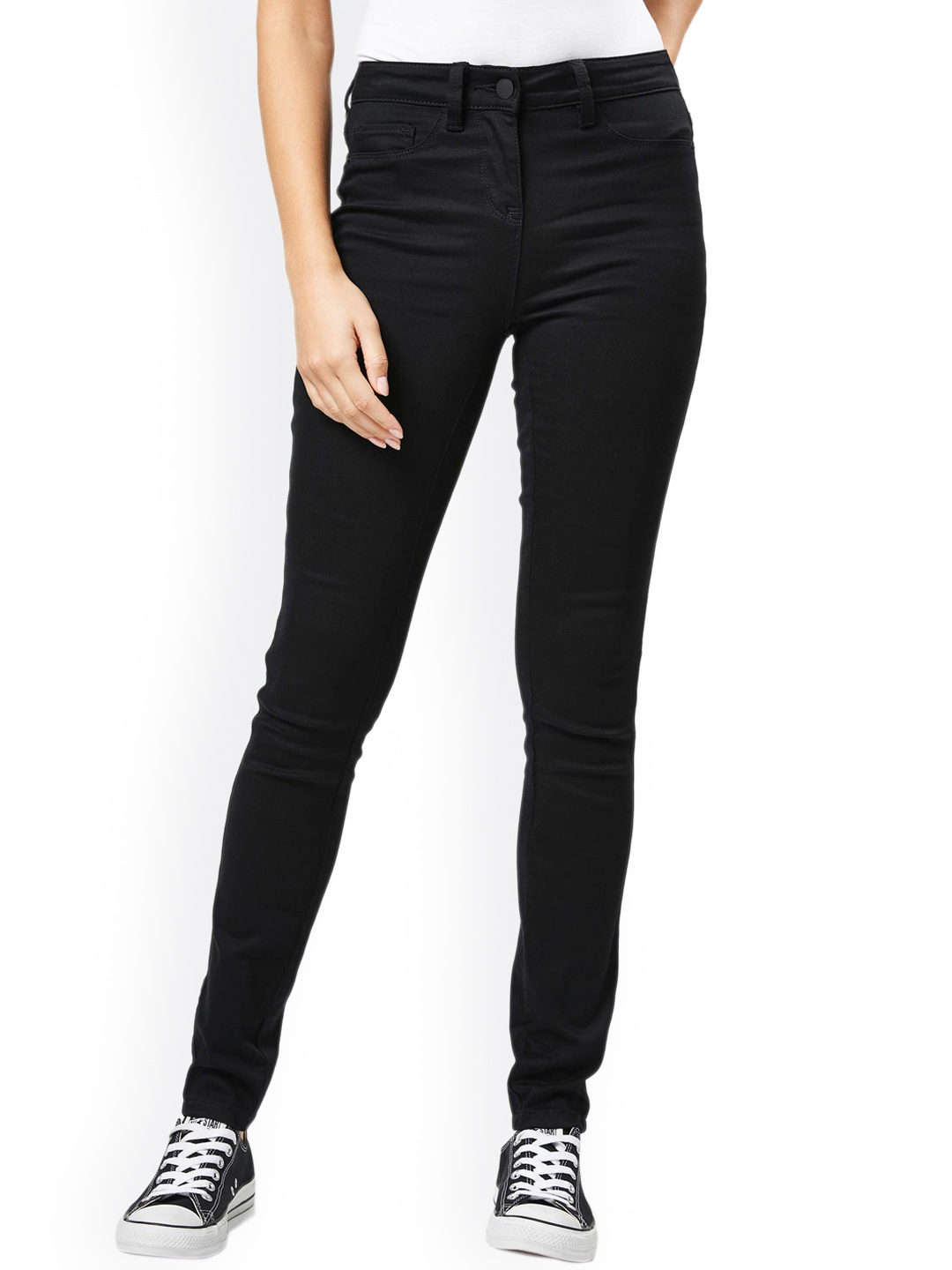 next Women Black Regular Fit Mid-Rise Clean Look Jeans Price in India