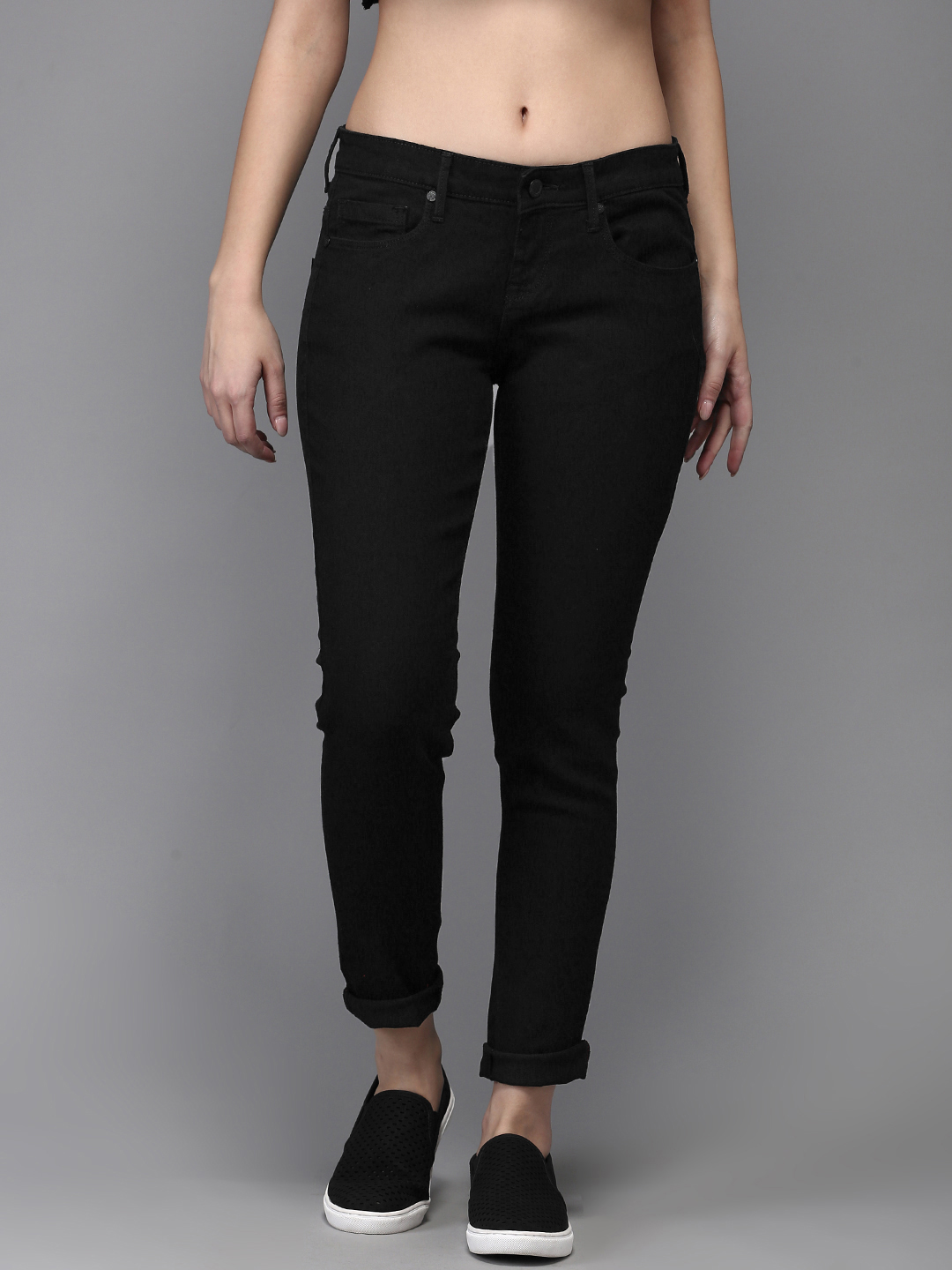 Moda Rapido Women Black Skinny Fit Mid-Rise Clean Look Stretchable Jeans Price in India