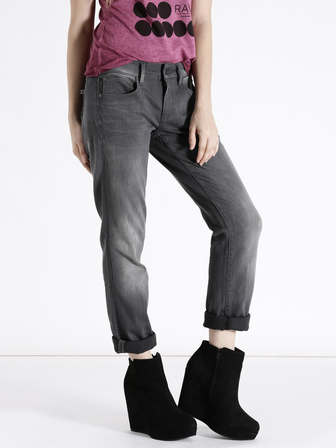 G-STAR RAW Women Grey Straight Fit Stretchable Jeans Price in India