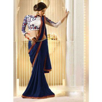 Georgette Lace Work Navy Blue Saree - 8964 Price in India