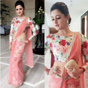 Purple Opus Rashami Desai Net Peach Floral Print Bollywood Designer Saree - PL17 Price in India