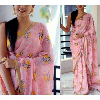 Arohi Georgette Pink Floral Print Saree - ARH02 Price in India