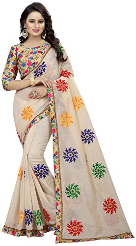 Shreeji Designer Women's Chanderi Cotton Embroidered Saree with Blouse Piece Price in India