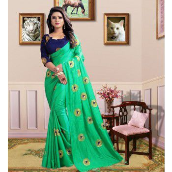 Vivels Poly Silk Green Embroidered Saree - ALPH1 Price in India